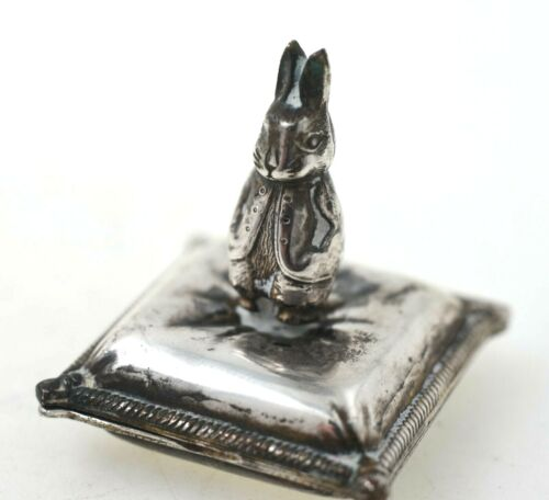 Antique Silver Stamp Box Rabbit on Pillow FABULOUS