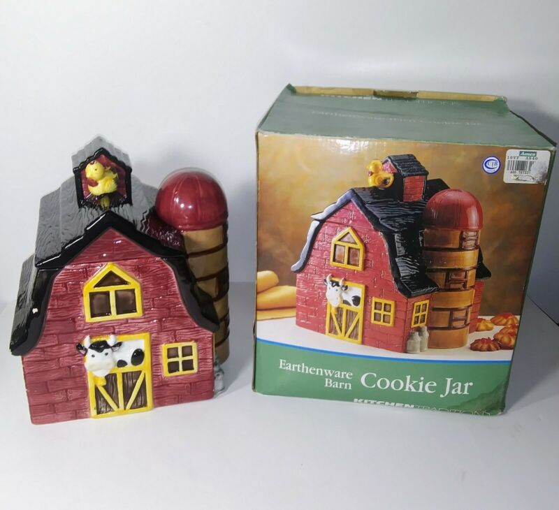 Barn Cookie Jar Red Earthenware Kitchen Collectible