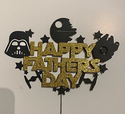 Fathers day cake topper Star wars themed Glitter Cake toppers