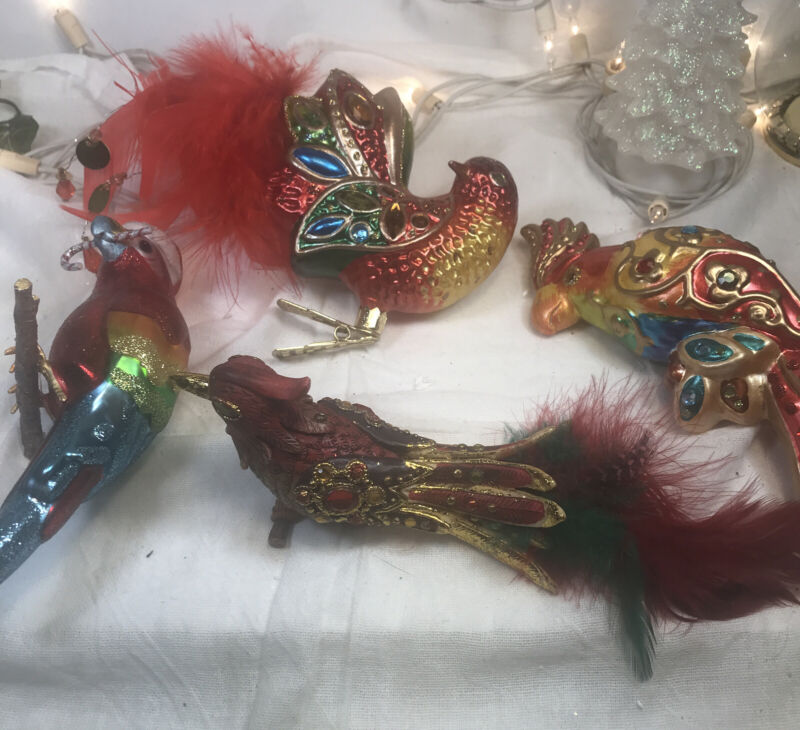 4 Beautiful Colorful Exotic Bird Christmas Tree Ornaments