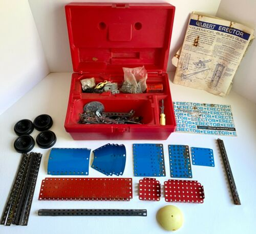 Vintage Gilbert Erector Construction Set in Red Case w/ Gears & Pulleys