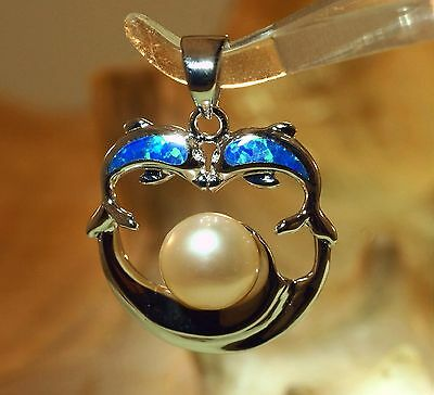 HAWAIIAN RHODIUM 925 SILVER INLAID OPAL DOLPHINS FW PINK BUTTON PEARL PENDANT (Fw Button Pearl Pendant)