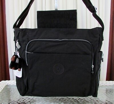 Kipling Kyler Baby Diaper Messenger Bag Travel Commuter Tote Black NWT