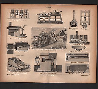 Lithografie 1876: GOLD. GOLDGEWINNUNG. GOLD-SCHMIEDE-KUNST. Schmuck.