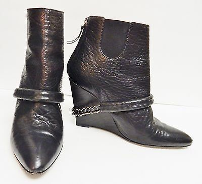 GIVENCHY Leather Boots Ankle Booties Shoes Wedge Zipper Studs Italy Black -