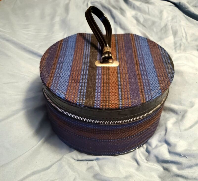 Vintage Round Carry-All By Munro Multi Color Train Case Suitcase Luggage