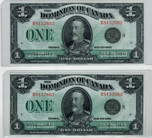 Canada 1923 Dominion of Canada $1 Banknotes - 2 in Sequence - EF-45 -