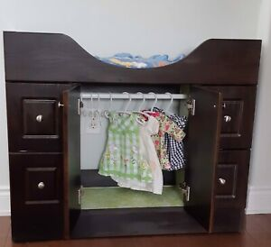 New- Doll Armoire/ Closet with Drawers & Bed Above