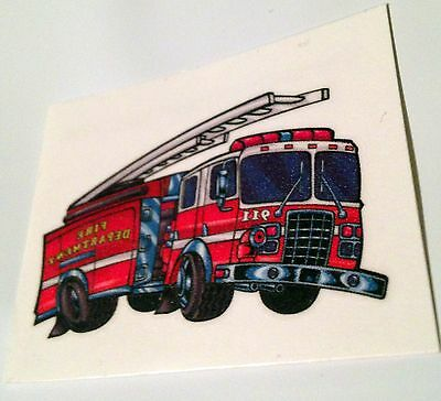 NEW! 24 FIRE ENGINE TRUCK TEMPORARY TATTOOS PARTY FAVORS  FIREMAN FIRETRUCK