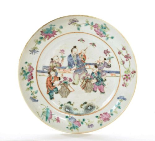 19C Chinese Famille Rose Porcelain Plate Scholar Children Figure Figurine AS IS