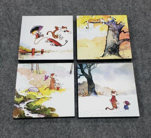 "Calvin and Hobbes 4 Seasons 4 Piece Wood Print Set 8"" x 8"""