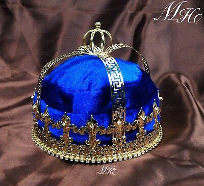 Men's King Crowns Hat Handmade Fleur De Lis Costume Headband Wedding Accessories - Costume King Crowns