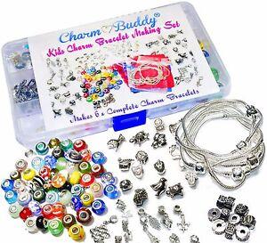 Girls 6 x Charm Bracelet Bead Making Jewellery Kit Gift Set for Kids Christmas