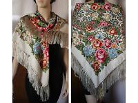 """Russian Ukrainian Gypsy Shawl Floral w//Fringes 49/""""//125cm 80/%Wool NWT #98 Blue"""