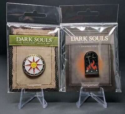 Official Dark Souls Bonfire & Sunlight Shield Enamel Pin Set Solaire Astora (Sun Solaires)