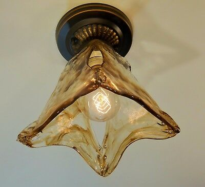 Oil-Rubbed Bronze Finish Flush mount Light Art Glass Shade Rustic Hall Bedroom  Oil Rubbed Bronze Arts