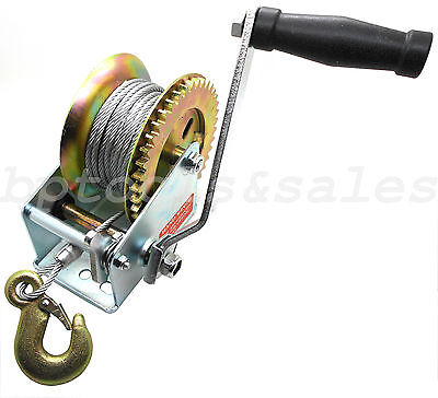 1000lb Heavy Duty Steel Cable Hand Winch Crank Gear Winch ATV Boat Trailer NEW