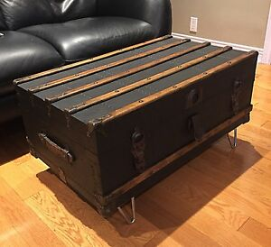 Antique Steamer Trunk - Black- Oak Slats- Coffee Table