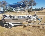 Quintrex Boat and Trailer, set up ready to go fishing