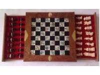 New Ornate Carved Wooden Oriental Chess Set collectors item
