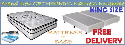 DELIVERED FREE - KING Bed Ensemble - Orthopedic Mattress + Base