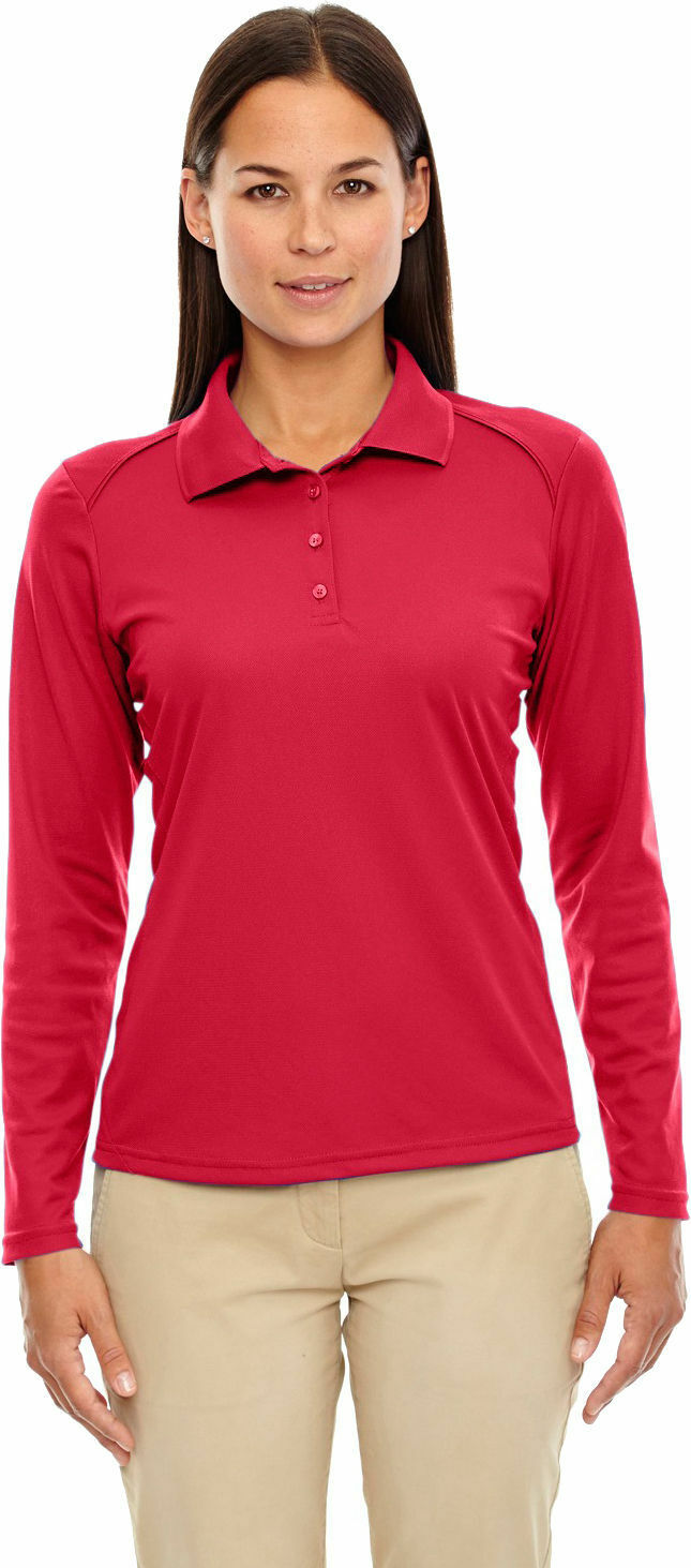 Extreme Womens Flat Collar Polyester Performance Long Sleeve Polo