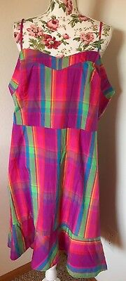 A New Day Womens Plus Sz Pink Multi Color Plaid Hi Lo Ruffle Hem Sun Dress NWT - Pink Plaid Dress