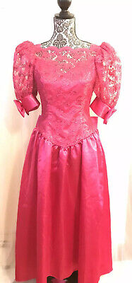 Jordan 6 Halloween (Vintage 80s Womens Satin Pink Puff Sleeve Lace Prom Dress With Bows Size 5/6)