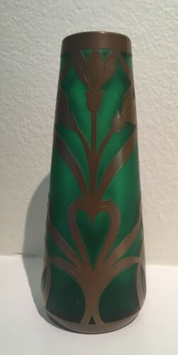 Style of Koloman Moser Austrian Art Glass Copper or Brass Overlay Vase