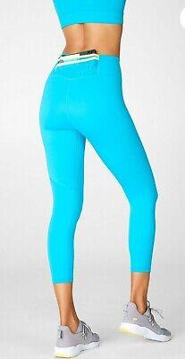 Fabletics Leggings L Large Trinity High Waisted Pocket Capri Aqua Blue Delta