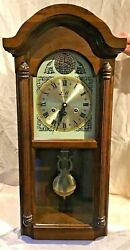 VINTAGE EDWARD MEYER CHERRY WOOD WALL CLOCK FEDERAL STYLE BRASS WIND UP