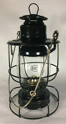 New Dietz Watchmen Railroad Oil Lantern, Black With Gold Trim, 11
