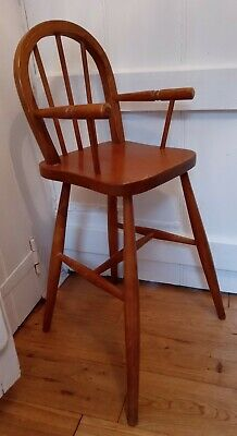 Vintage Solid Wooden High Chair Toddler Childs Under 5 Infant Dinning