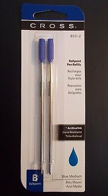 Cross Ballpoint Pen Refills 8511-2, Blue Medium, Pack of 2
