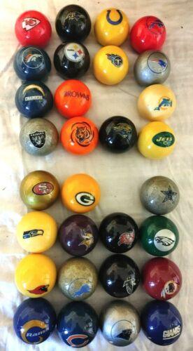 "30 DIFFERENT NFL TEAMS BILLIARDS BALLS / CUE BALLS 2.25"", LOGOS ON 2 SIDES"