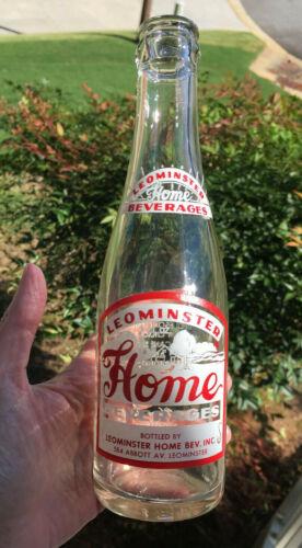 Vintage 1969 Leominster HOME Beverages 7 oz. ACL Soda Bottle - Leominster, Mass.