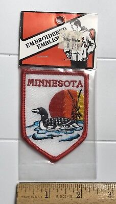 NIP Minnesota MN Swimming Duck Red Orange Yellow Sun Embroidered Souvenir Patch