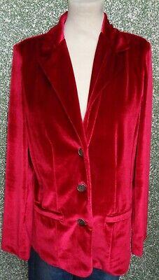 8A/11 Ancora Damen Blazer Gr. 4 L himbeer rot Samt Damenblazer uni Samtjacke online kaufen
