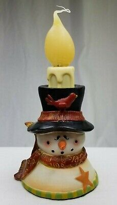 Ceramic Rustic Christmas Snowman Electric Flame Light Up Candle (BF2)