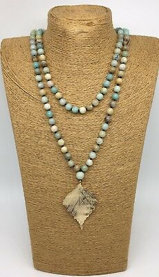(Fashion long knot Amazonite Stones w leaf pendant Necklace woman jewelry gift)