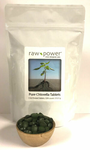 Chlorella tablets 1250-count, cold-pressed, 100% pure, Raw Power, 312.5 grams
