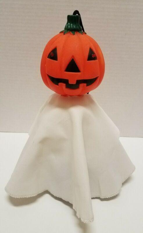 Vintage Halloween Blow Mold Style Jack O Lantern Shaking Ghost Pumpkin Head