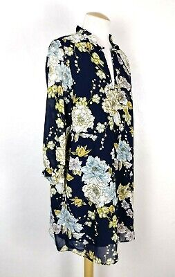 H&M Women's Navy Blue Oversized Floral Long Sleeve Dress Ruffle Detail Size 14