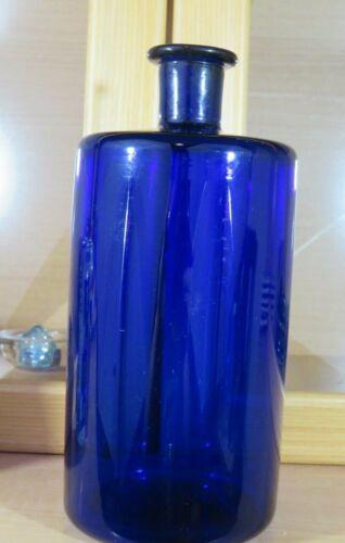 RARE LARGE SIZE ANTIQUE COBALT BLUE OPEN PONTIL APOTHECARY OR LAB BOTTLE