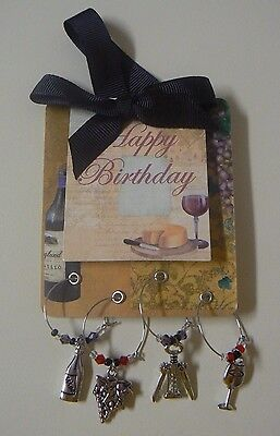 Ganz HAPPY BIRTHDAY Gift Wine Charm Set of 4 NEW Grapes Bottle Glass Cork Screw