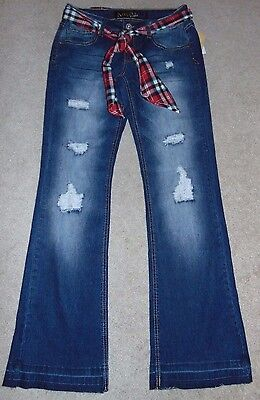 Belted Plaid Jeans (~NWT Women's ANGELS Plaid Belted Boot-Cut Jeans! Size 1 Nice FS:)~)