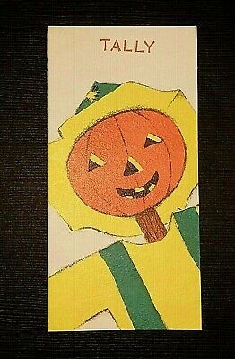 Vintage *UNUSED* Halloween Tally Card: Jack-O-Lantern Scarecrow *Hallmark*