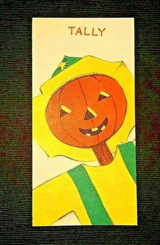 Vintage *UNUSED* Halloween Tally Card: Jack-O-Lantern Scarecrow *Hallmark* 1952