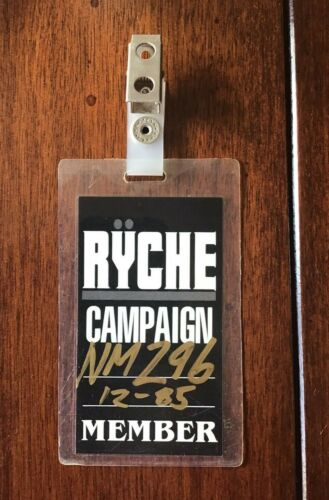 Queensryche Fan Club Badge – Ryche Campaign Member 1985