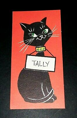 Vintage *UNUSED* Halloween Tally Card: Black Cat  With Sign *1960's* Hallmark